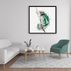 Framed 36 x 36 - Watercolor chameleon