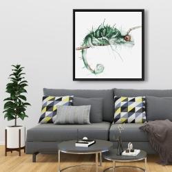 Framed 36 x 36 - Chameleon on the lookout