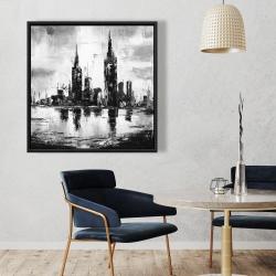 Framed 36 x 36 - Mono urban cityscape