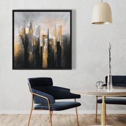 Framed 36 x 36 - Abstract gold skyscraper