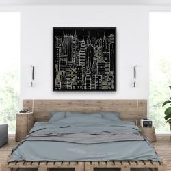 Framed 36 x 36 - Illustrative dark city
