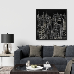 Framed 36 x 36 - Illustrative city towers