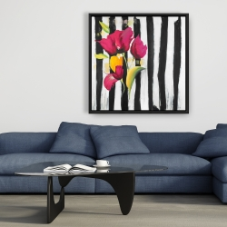 Framed 36 x 36 - Pink flowers on black stripes