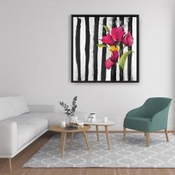 Framed 36 x 36 - Flowers on black and white stripes