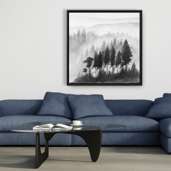 Framed 36 x 36 - Mono mountains landscape in watercolor