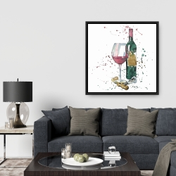Framed 36 x 36 - Bottle of red wine