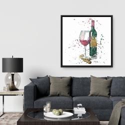 Framed 36 x 36 - Bottle of red wine