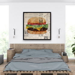 Framed 36 x 36 - Vintage style all dressed cheeseburger