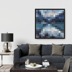 Framed 36 x 36 - Pixelated mountainous landscape