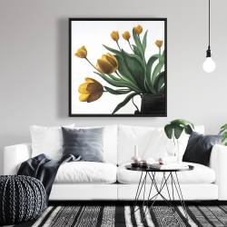 Framed 36 x 36 - Yellow tulips