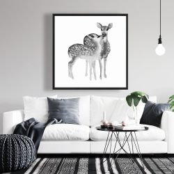 Framed 36 x 36 - Fawns love