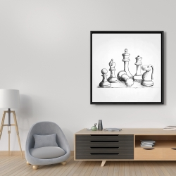 Framed 36 x 36 - Chess game pieces