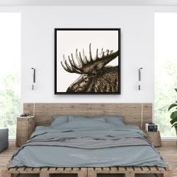 Framed 36 x 36 - Moose plume sepia
