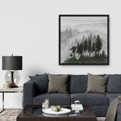 Framed 36 x 36 - Mountains landscape in dark watercolor
