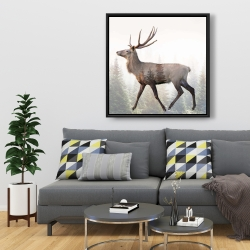 Framed 36 x 36 - Large plume roe deer