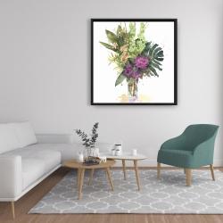 Framed 36 x 36 - Tropical flower assemblage