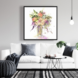 Framed 36 x 36 - Romantic bouquet