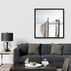Framed 36 x 36 - Seagull at the marina