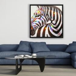 Framed 36 x 36 - Colorful zebra