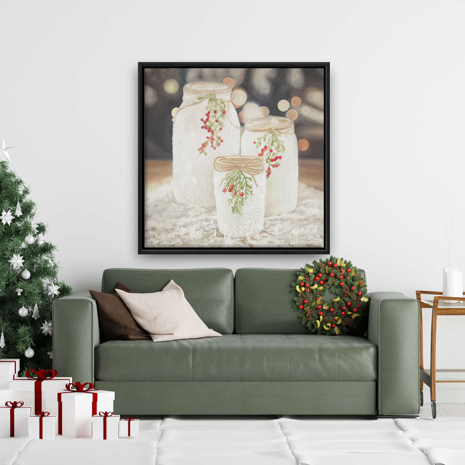 Framed 36 x 36 - Christmas candles