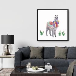 Framed 36 x 36 - Traditional peruvian lama