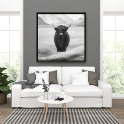 Framed 36 x 36 - Monochrome highland cow