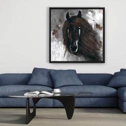 Framed 36 x 36 - Dark brown horse