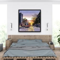 Framed 36 x 36 - Sunset streetscape to toronto