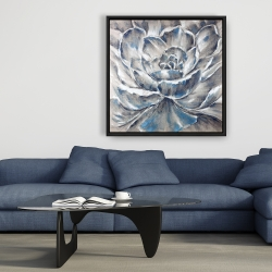 Framed 36 x 36 - Gray and blue flower