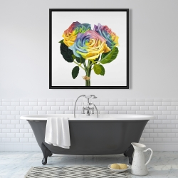 Framed 36 x 36 - Bouquet of rainbow roses