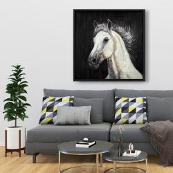 Framed 36 x 36 - White star horse
