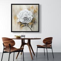 Framed 36 x 36 - White peony