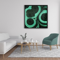Framed 36 x 36 - Malachite stone