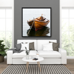 Framed 36 x 36 - Rowboat on calm water