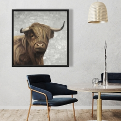 Framed 36 x 36 - Desaturated highland cattle