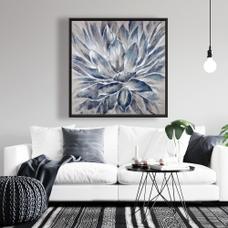 Framed 36 x 36 - Blue and gray flower