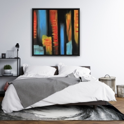 Framed 36 x 36 - Abstract and colorful tall buildings