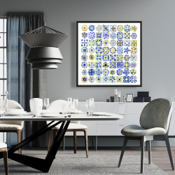 Framed 36 x 36 - Watercolor traditional moroccan tiles