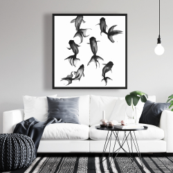 Framed 36 x 36 - Black fishes