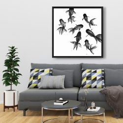 Framed 36 x 36 - Small black fishes