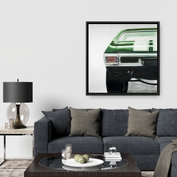 Framed 36 x 36 - Classic dark green car