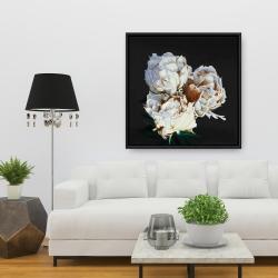Framed 36 x 36 - Blooming peonies