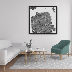 Framed 36 x 36 - San francisco city plan