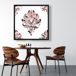 Framed 36 x 36 - Coral baroque ornament