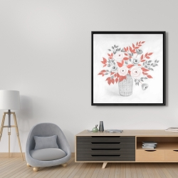 Framed 36 x 36 - Flower illustration