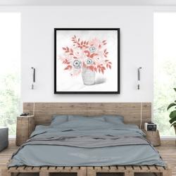 Framed 36 x 36 - Coral flower illustration