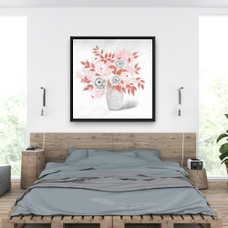 Framed 36 x 36 - Coral flower illustration