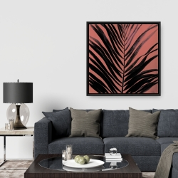 Framed 36 x 36 - Coral tropical palm leave