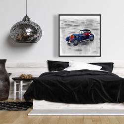 Framed 36 x 36 - Vintage blue toy car
