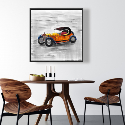 Framed 36 x 36 - Yellow vintage car toy